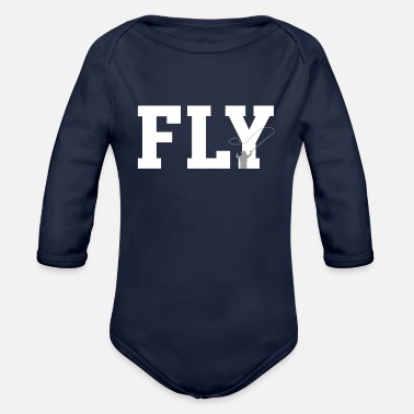 Fly FLY - fly fishing, fly fishing - Organic Long-Sleeved Baby Bodysuit