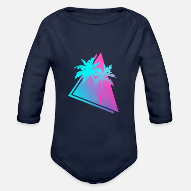 Emotion Retro 80s 90s Vaporwave Palm Trees Gift. Pink & - Organic Long-Sleeved Baby Bodysuit