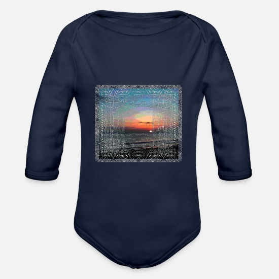 Surfer Baby Clothes - sea - Organic Long-Sleeved Baby Bodysuit dark navy