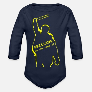 Grilling in the name of - yellow - Organic Long-Sleeved Baby Bodysuit