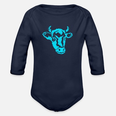 Cow cow head farmer cows cattle cattle breeding - Organic Long-Sleeved Baby Bodysuit