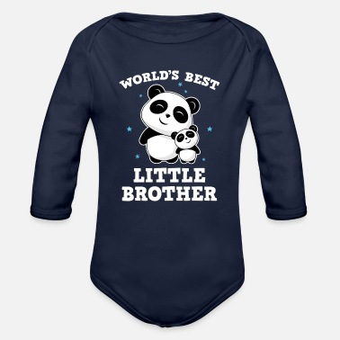 Panda World's Best Little Brother - Kleiner Bruder Panda - Baby Bio Langarmbody