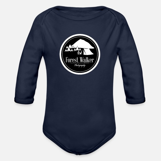 Adventure Baby Clothes - logo - Organic Long-Sleeved Baby Bodysuit dark navy