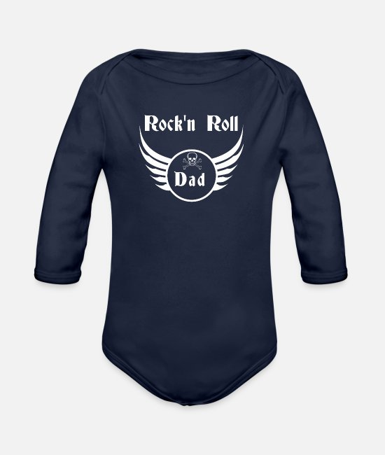 Father's Day Baby Bodysuits - Rock and roll dad - Organic Long-Sleeved Baby Bodysuit dark navy