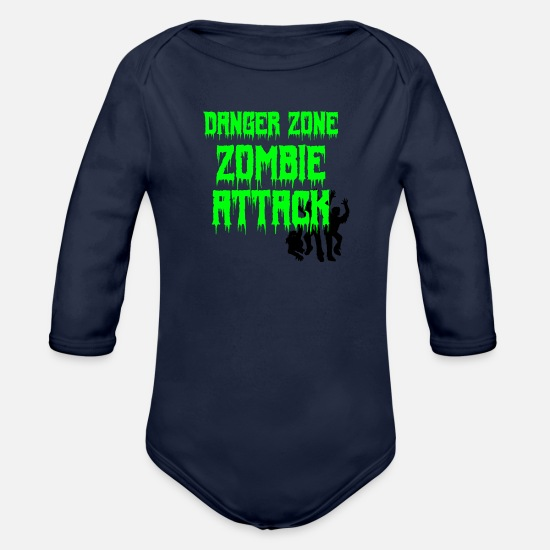 Zone Baby Clothes - DANGER ZONE ZOMBIE ATTACK - Organic Long-Sleeved Baby Bodysuit dark navy