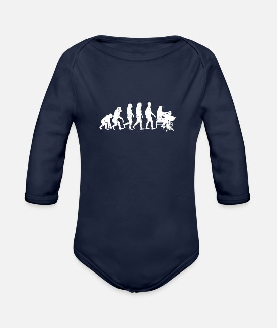 Development Baby Clothes - tailoring evolution tailor job gift job - Organic Long-Sleeved Baby Bodysuit dark navy
