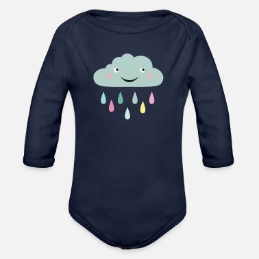Cloud with raindrops - Organic Long-Sleeved Baby Bodysuit