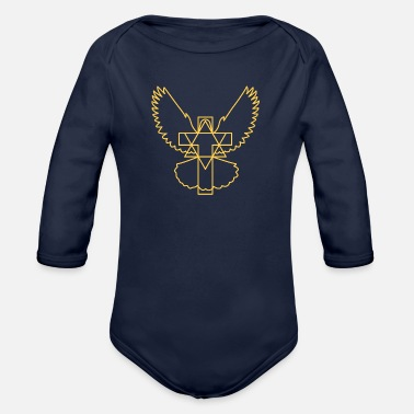 Cross dove star modern without beak - Organic Long-Sleeved Baby Bodysuit
