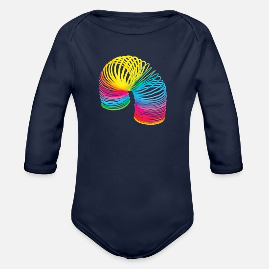 Spiral Baby Clothes - 80ies spiral BuJa - Organic Long-Sleeved Baby Bodysuit dark navy