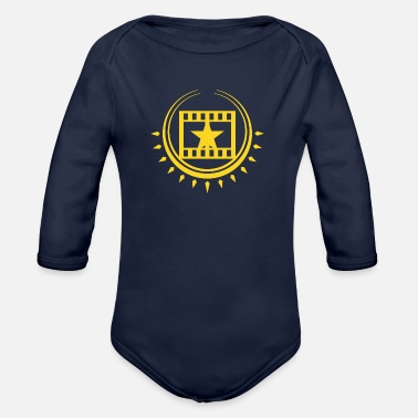 Cinema Cinema Cinema filmstrip with star - Organic Longsleeve Baby Bodysuit