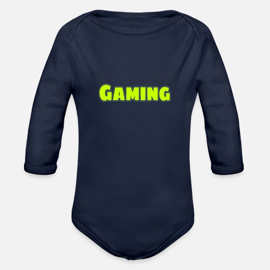 Play Baby Clothes - Font (gamer) - Organic Long-Sleeved Baby Bodysuit dark navy