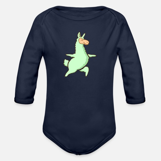 For Kids Baby Clothes - lama - Organic Long-Sleeved Baby Bodysuit dark navy