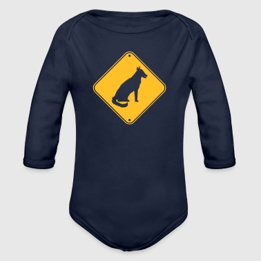 yellow caution shield warning danger caution - Organic Longsleeve Baby Bodysuit