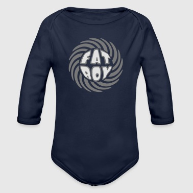 swirl circle round design fat boy saying man fat - Organic Longsleeve Baby Bodysuit