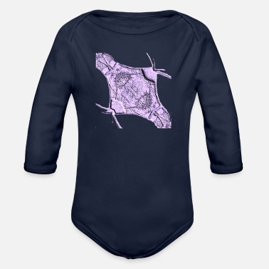 Relief Flower relief purple - Organic Long-Sleeved Baby Bodysuit