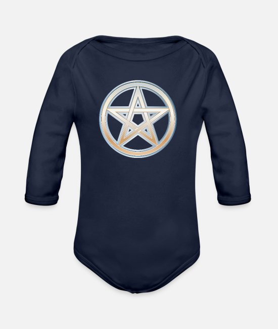 Symbol  Baby Clothes - Pentacle Symbol 4 - Organic Long-Sleeved Baby Bodysuit dark navy