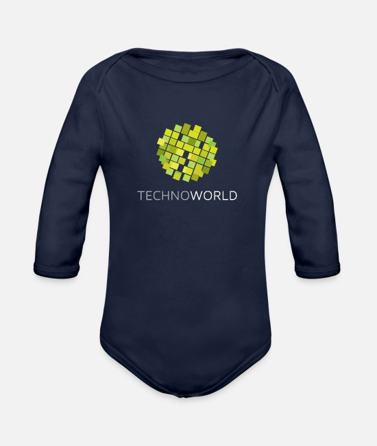 Techno Music Baby Bodys - Techno World - Baby Bio Langarmbody Dunkelnavy