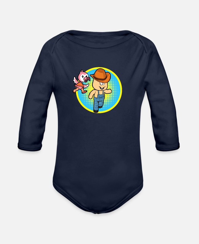 Circular Baby Bodysuits - Flamingo Chases Hick - Organic Long-Sleeved Baby Bodysuit dark navy