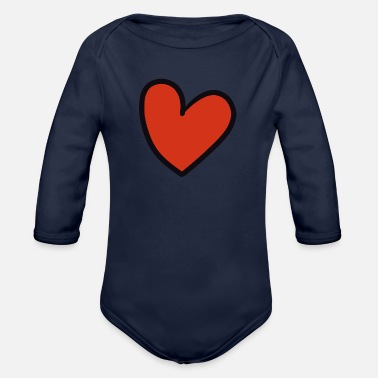 Crook crooked heart - Organic Long-Sleeved Baby Bodysuit