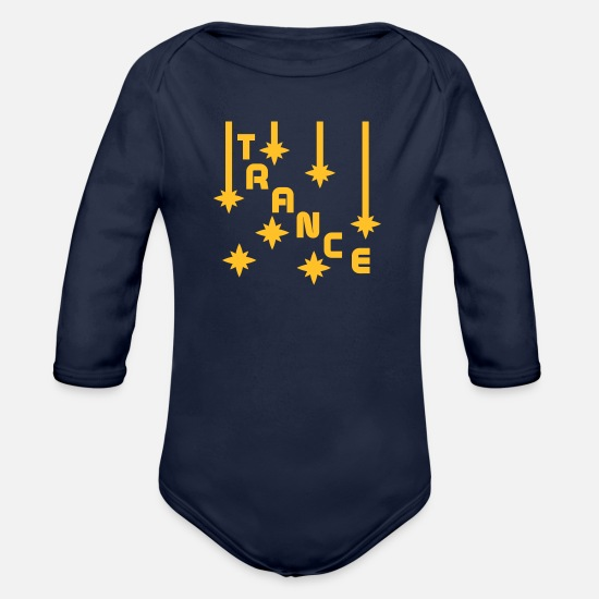 Trance Baby Clothes - TRANCE - Organic Long-Sleeved Baby Bodysuit dark navy