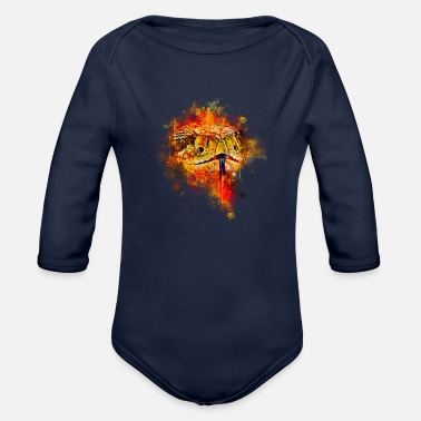 Closeup gxp rattlesnake closeup water color splashes - Organic Long-Sleeved Baby Bodysuit