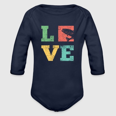 Love fishing fish fishing hooks fish vintage - Organic Longsleeve Baby Bodysuit