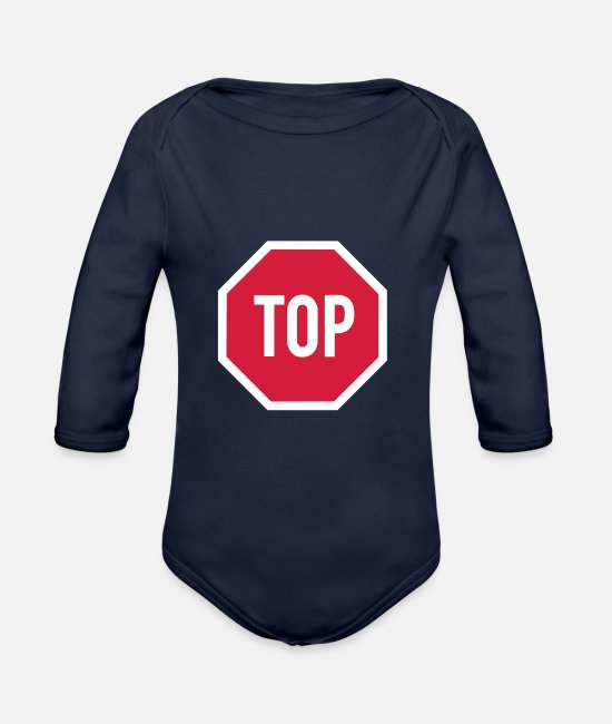 Red Baby Bodysuits - TOP sign - Organic Long-Sleeved Baby Bodysuit dark navy