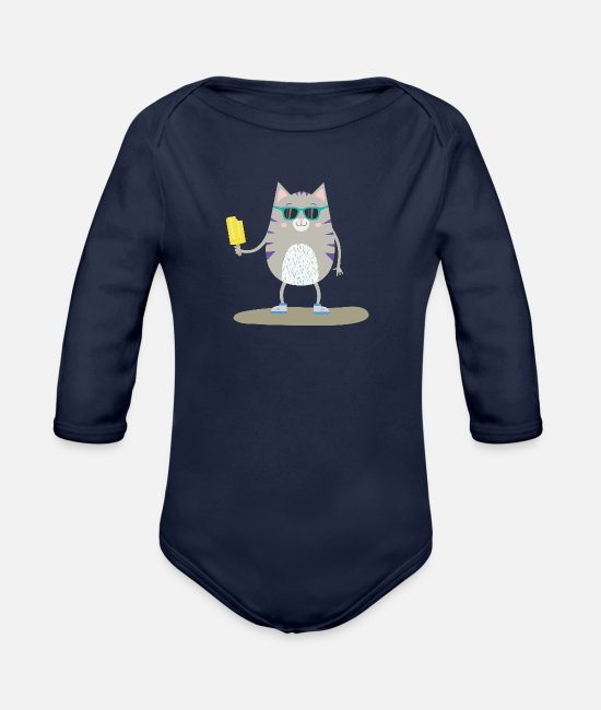 Nature Baby Bodysuits - Summer Cat with Icecream Sdnlx - Organic Long-Sleeved Baby Bodysuit dark navy