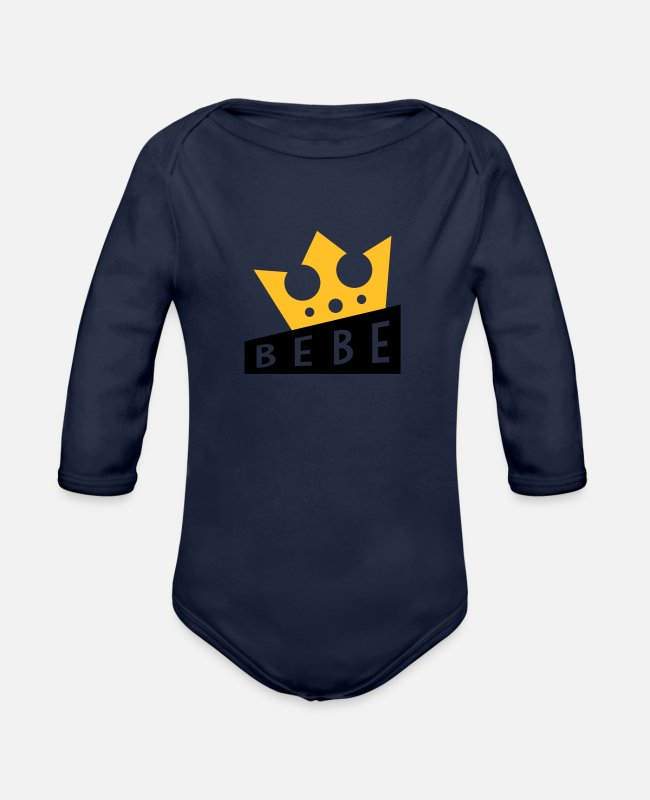 Pregnancy Baby Bodysuits - Baby Bébé Birth Geburt Bambino Naissance Birth - Organic Long-Sleeved Baby Bodysuit dark navy