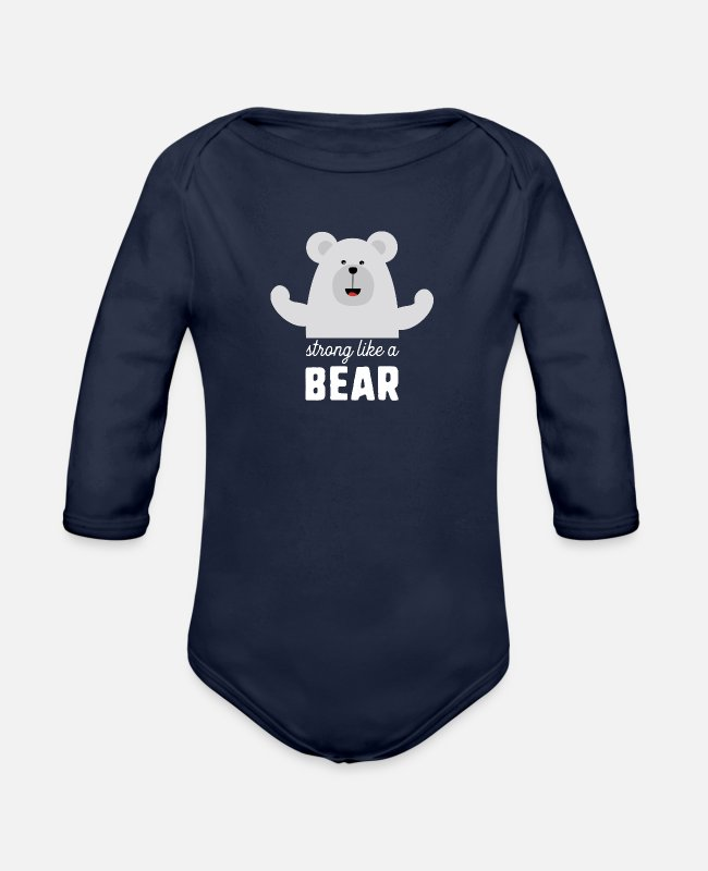 Nature Baby Bodysuits - Strong like a Bear Shdyz - Organic Long-Sleeved Baby Bodysuit dark navy