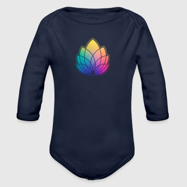Colorful Abstract Yoga Geometry Blossom / Flower - Organic Longsleeve Baby Bodysuit