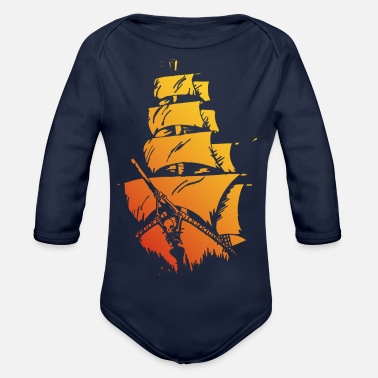 Pirate ship red yellow - Organic Long-Sleeved Baby Bodysuit
