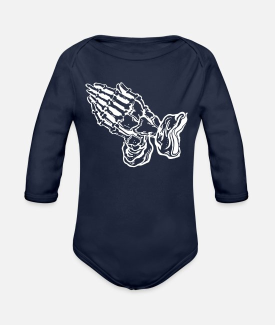 Pinstriping Baby Bodysuits - Praying hands - pray (subject color changeable) - Organic Long-Sleeved Baby Bodysuit dark navy