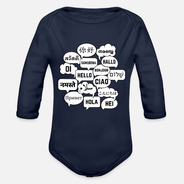 Hello Speech bubbles with hello in different languages - Organic Long-Sleeved Baby Bodysuit