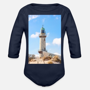 Rostock Rostock Rostock Warnemünde Rostock (lighthouse) - Organic Long-Sleeved Baby Bodysuit