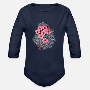 Abstract abstract flowers - Organic Long-Sleeved Baby Bodysuit