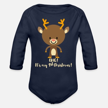 Christmas 1st Christmas! Gifts for baby boy & baby girl.Deer - Organic Long-Sleeved Baby Bodysuit