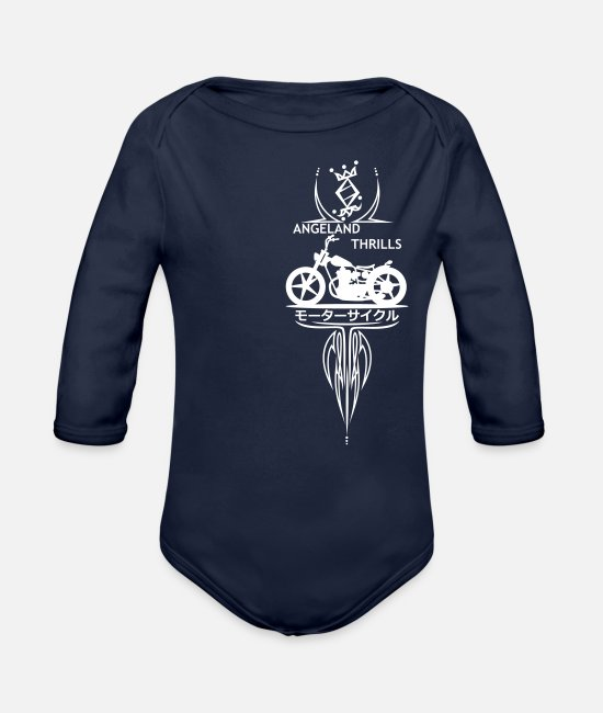 Vertical Baby Bodysuits - Angeland Thrills + Vertical Twin (NB) - White - Organic Long-Sleeved Baby Bodysuit dark navy
