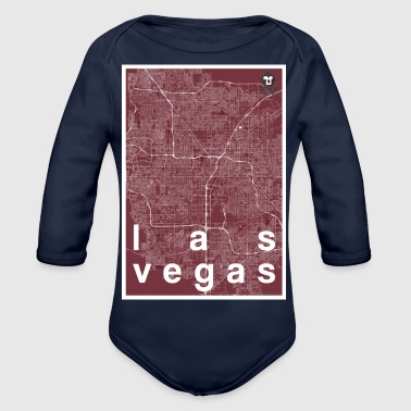 Las Vegas hipster city map red - Organic Longsleeve Baby Bodysuit