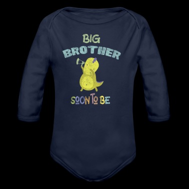 Pregnancy Announcement Big Brother DinoDab - Organic Longsleeve Baby Bodysuit
