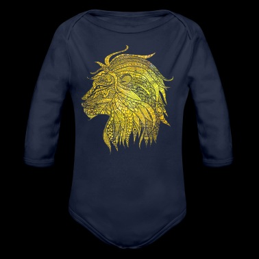 Lion Cat Gift Noble King Meow Power - Organic Longsleeve Baby Bodysuit