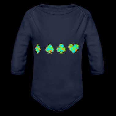 Card Game Neon Skat Poker Gift Player Heart - Organic Longsleeve Baby Bodysuit