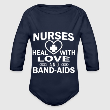 Nurses heal with love and plasters. - Organic Longsleeve Baby Bodysuit