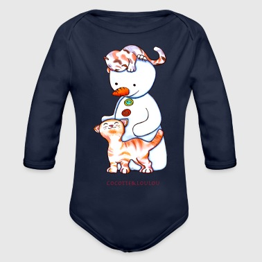 Two little cats and play the snowman - Organic Longsleeve Baby Bodysuit