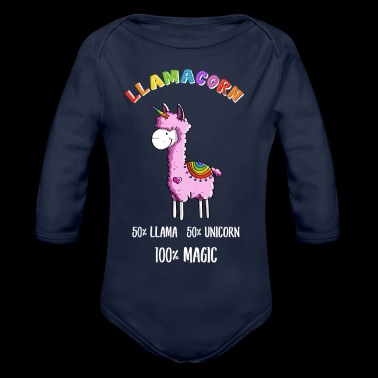 Magic Llamacorn Lama Unicorn tegneserie - Økologisk langermet baby-body