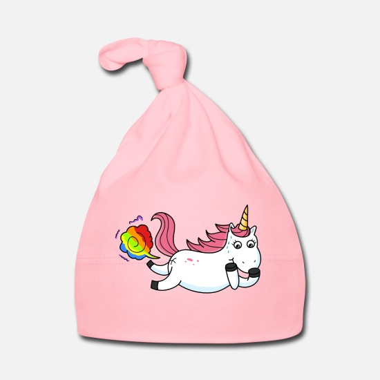 Unicorn Baby Clothes - Farting unicorn rainbow - Baby Cap light pink