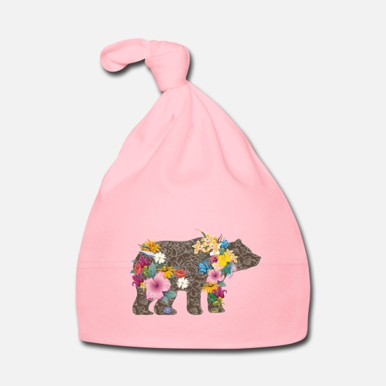 Bestsellers Q4 2018 Baby Clothes - A bear with flowers - Baby Cap light pink