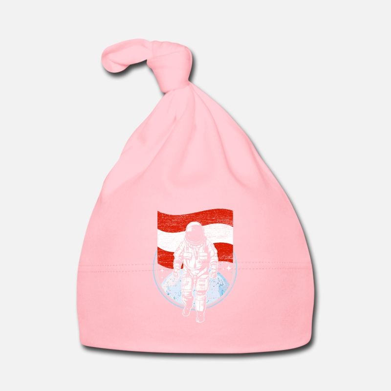 Astronaut Baby Clothes - Astronaut with the flag of Austria gift - Baby Cap light pink