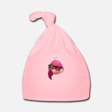 Horns Cool flamingo with sunglasses summer cartoon - Baby Cap