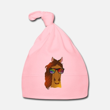 Cavallo Di Dressage Cool cavallo con occhiali da sole estate cartoon - Cappellino neonato
